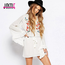 Jastie Floral Embroidered Smock Dress Flared Sleeves V-Neck Mini Dress Summer Women Dresses Boho Chic Style Beach Vestidos