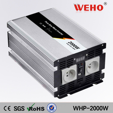 (WHP-2000-122)2000w 12vdc to 220vac pure sine wave inverter 200ah inverter batteries with inbuilt charger and LED display screen(China)