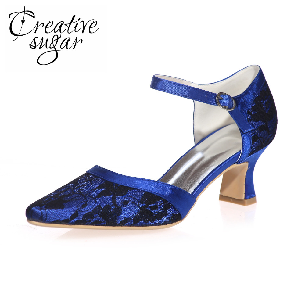 Creativesugar Pointed toe lace Dorsay ankle strap med hoof heel woman elegant evening dress shoes prom party wedding heels <br>