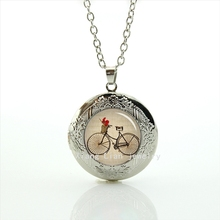 Vintage bicycle Silver plated locket necklace Antique bike  men and women hipster Accessories, brown black bike jewelry  T639