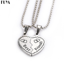 High Quality Pendent Long Chain Best Friends Girls Necklace 2PCS/SET Broken Heart Silver Necklaces For Women Fashion Jewelry