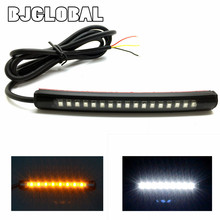 2016 New Universal 2835SMD LED Motorcycle Car Flexible Turn Signal and runingn Light Strip License Plate Lights Flashing