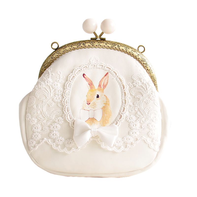 2017 New Arrival Women Lovely Rabbit Shell-shaped Messenger Bag  Cute rabbit Lolita Handbag for Ladies adorable girl phone bag<br>