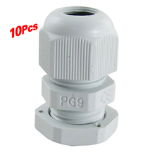 Promotion! 10 pcs PG9 White Plastic Waterproof Cable Glands JoInts(China)