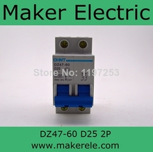 MCB Miniature Circuit Breaker chint mini circuit breaker DZ47-60 2P D25 25A(China)