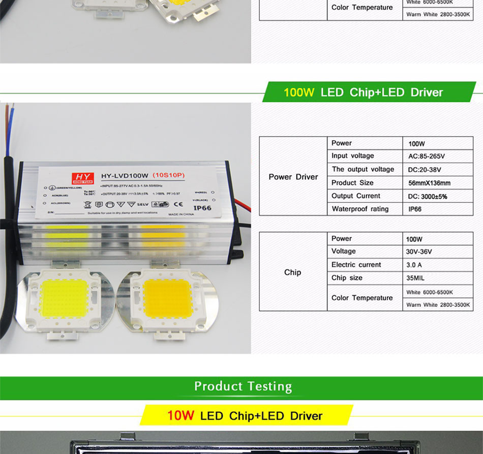 100% Epistar LEDs Full Watt 10W 20W 30W 50W 100W COB LED Light Chip for Project Flood Light Floodlights AC LED Bulb with Driver (4)