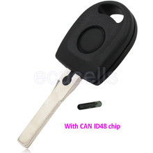 Car Ignition transponder key with CAN ID48 chip TP23 for Volkswagen VW golf jetta polo tiguan caddy beetle HU66 uncut key blade