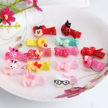 New Colorful Resin Baby Hair Clips Kitty Hairpins Children Hair Accessories Circle Protect Well Wrapped Hair Clip
