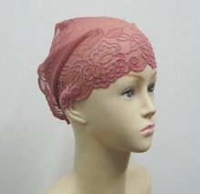 Size 25*31cm Muslim Inner Hat Lace Under Scarf Hijab Bonnet Cap Headwear Islamic Headwrap Under Tube(China)