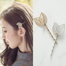 1 PC Vintage Side Clip Leaves Hairpins Hair Jewelry Wholesale Accessories Women 2017 Hot Hollow Gold Leaf Barrettes Hair Clips(China)