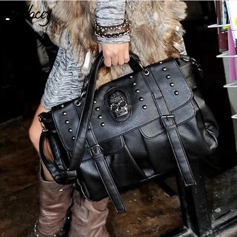 New 2017 Motorcycle Bag Skull Women Messenger Bags City Punk Rivets Handbags Large Satchels Crossbody Fashion Shoulder Bag Totes<br>