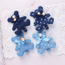 New Korean Jeans Dots Dog Bear Pearl Bow Hairpins Blue Denim Leisure Hair Clips Girls Children Barrettes Hair Accessories(China)