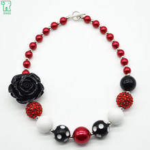 2Pcs Black Rose Flower Chunky Bubblegum Necklace For Kids Photo Prop Dress Up Jewelry(China)