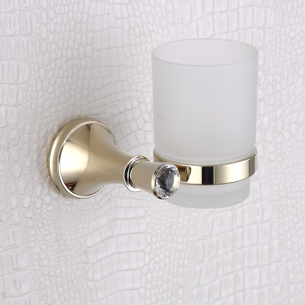 Single Tumbler Holder 304 Stainless Steel and Copper Wall Mounted Vintage Crystal Glass Cup Toothbrush Holder with Golden Decor<br>