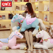 QWZ 100CM Large Stuffed Animals Lying Unicorn Plush Toy Blue Pink White Unicorn Doll High Quality Children Christmas Gifts