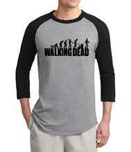 2017 summer hot sale hip hop The Walking Dead 3/4 sleeve t shirt men cotton high quality raglan men t-shirt loose fit S-2XL