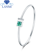 Wholesale Real 14K White Gold Natural Colombia Emerald Bracelet Charming Bangle Diamond Jewelry For Women Anniversary Gift(China)