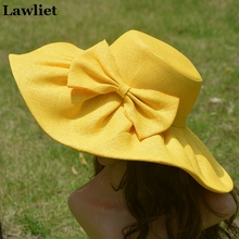 Yellow Linen Summer Womens Kentucky Derby Wide Brim Sun Hat Wedding Church Sea Beach Hat Ladies Floppy hats