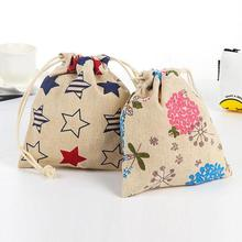 Lovely Canvas Drawstring Bunches Storage Bag Cartoon Printing Tighten Rope Sanitary Napkins Bags Girl Gifts Candy Bag Wedding45