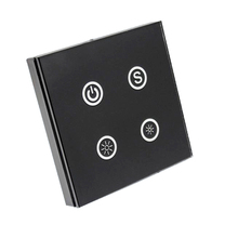 Common Anode DC12-24V Voltage Input 3 Return Circuit LED Controller Touch Panel for LED Strip Lighting Products, Black Color(China)