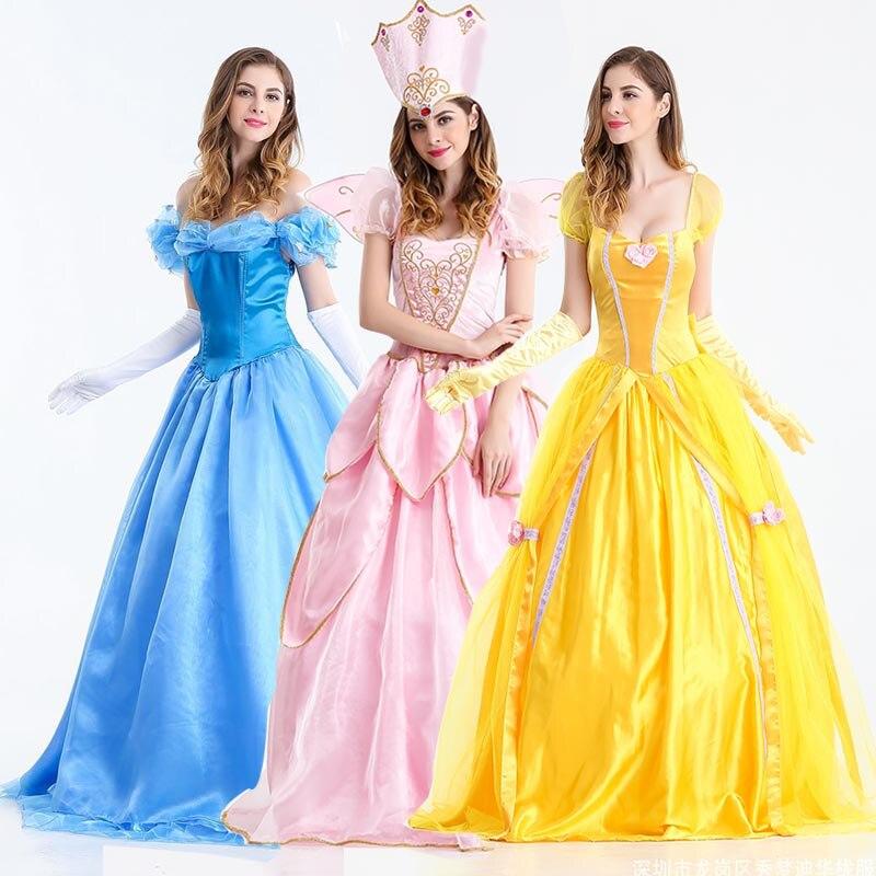 Beautiful Princess Cinderella Ball Gown Dress Fairy Tales Costume Adult Women