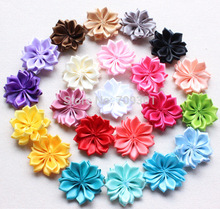 100pcs/lot DIY Satin Ribbon Flower  Satin Flower WITHOUT Hair Clip,Satin Ribbon Multilayers Flower,Kids Hair Accessories