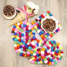"4Pcs/lot 3.9"" Handmade Coaster colorful Non-Woven Fabric Coffee Cup Mat Heat pads Potholder cute wholesale FG311(China)"