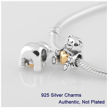 Fits Pandora Bracelet DIY Making Authentic 100% 925 Sterling Silver Beads Heart Teddy Bear Christmas Teddy Bear Bead L282