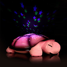 Led Night Light Toys for Baby Children Cute Design 4 Colors Moon and Stars Projector With 4 Light Music Turtle Lamp
