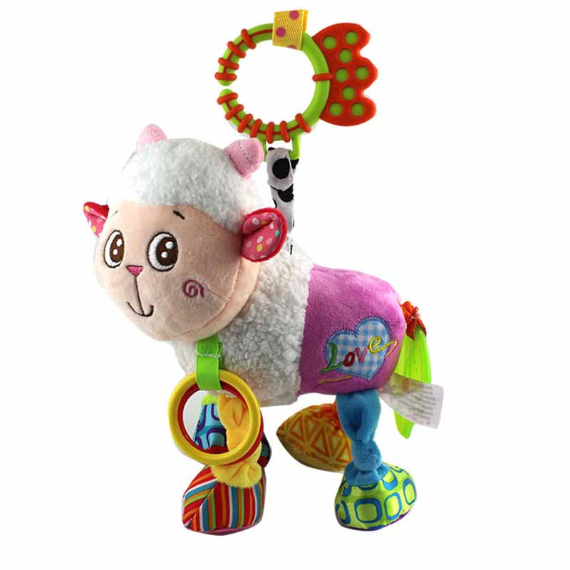35*22CM Musical Cute Rattles Bed Crib Stroller Kids Stuffed Doll Vibrator Dog Hand Bell Shake RingToy With Teether D012 15