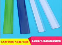 Width 42mm L 1.2-1 M with tape flat adhesive label holder strip shelf price talker ticket sign clip plastic data strip