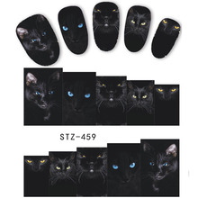 1 Sheet Animal Black Cat Designs Nail Art Stickers Water Transfer Nail Tips Decal DIY Accessory Beauty Nail Decorations LASTZ459(China)