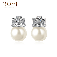 ROXI party jewelry Gift Classic Genuine  Zircon Queen Fashion Pearls Earrings Hot Sale For Party