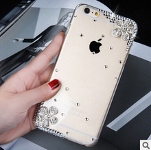 For iPhone 6 6S 6S plus 6 plus 5 5S SE 5C 4 4S phone Hard case Luxury Rhinestone diamond 3D Flower Bling Transparent Phone Cover