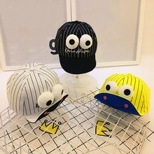 DreamShining Striped Baby Hat Funny Big Eyes Baby Boy Baseball Cap Summer Girl Visor Hats Candy Color Newborn Caps Accessories(China)