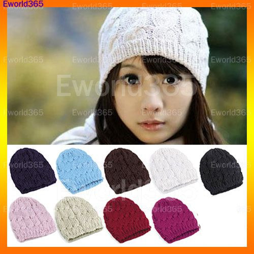 10x Hot Autumn Winter Ladies Women Cable Knit Knitted Crochet Acrylic  Beanie Hat Cap Free ShippingÎäåæäà è àêñåññóàðû<br><br><br>Aliexpress
