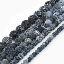 Mysterious Black Nature Stone Frost Cracked Dream Fire Dragon Veins  Beads 6 8 10 12 14mm Pick Size