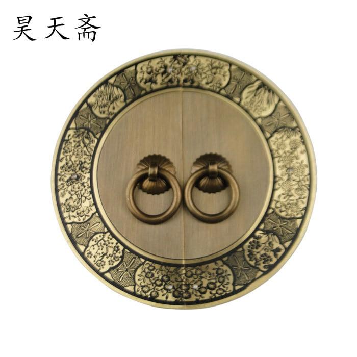[Haotian vegetarian] antique furniture copper door handle lock piece Ming HTB-254, paragraph four gentlemen 14cm<br>