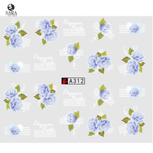 Nail Salon 1X Nail Art Sticker Hot Designs Purple Rose Flowers Water Transfer Decals Sticker for Nail Art Tips DIY SAA312