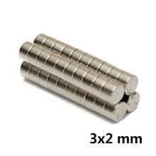 AETool 100pcs 3x2 N52 3mm*2mm meodymium Magnet Mini Disc Dia 3mm x 2mm Strong Powerful Round wholesale 3*2(China)