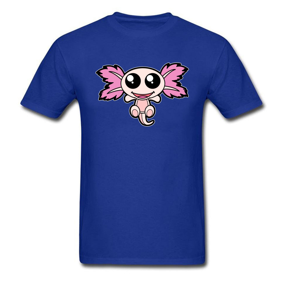 Pinky The Axolotl Casual Short Sleeve Tees Father Day Round Neck 100% Cotton Fabric Boy T Shirt Casual Tee-Shirt Funny Pinky The Axolotl blue