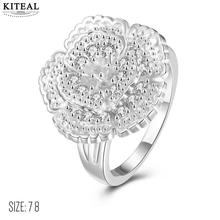 KITEAL Best Gift silver plated White size 7 8 Perfume women Engagement rings big flower men ring floating charms(China)