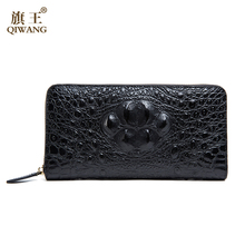 QIWANG Sexy Women Wallets Crocodile Head and Tail Wallet Purse for Women Split Leather 3D Alligator Pattern Long Wallet Women (China)