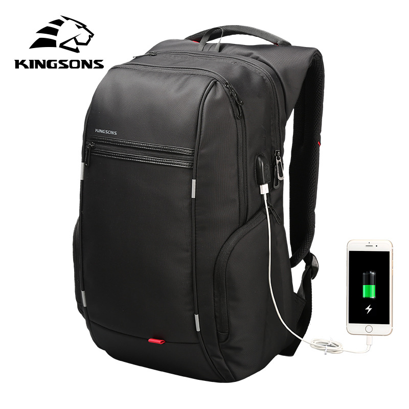 Kingsons Backpack Men Women Bags External USB Charge 15.6 17 Inch Laptop Anti Theft Back Pack Computer Travel Business Rucksack<br>