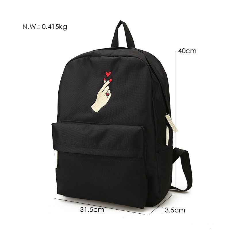 Men Canvas Backpack Cute Fashion Women Rose Embroidery Backpacks for Teenagers Women's Travel Bags Mochilas Rucksack School Bags (57)