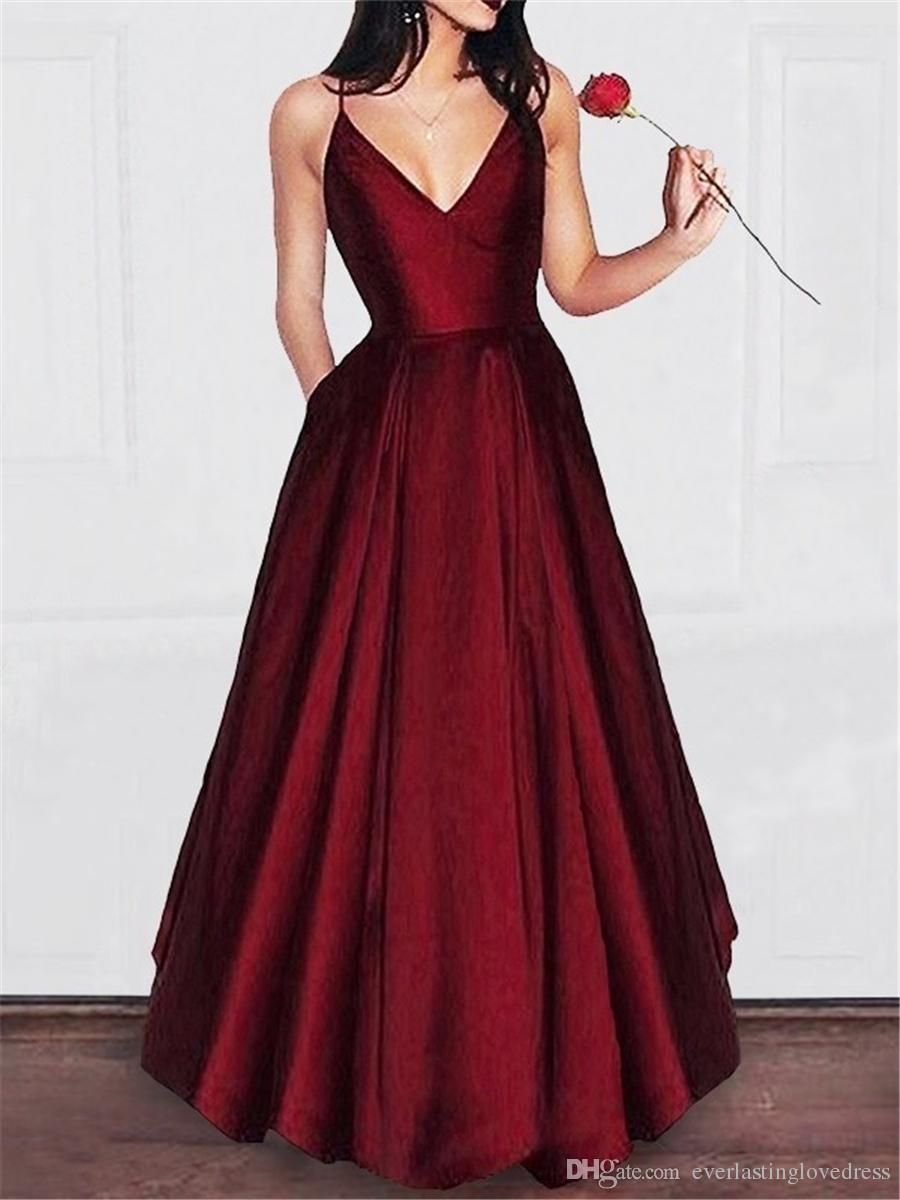 Vestidos de fiesta de noche largos elegantes 2019 In Stock Spaghetti Strap V Neck Prom Dresses Vestidos de gala Evening Dress