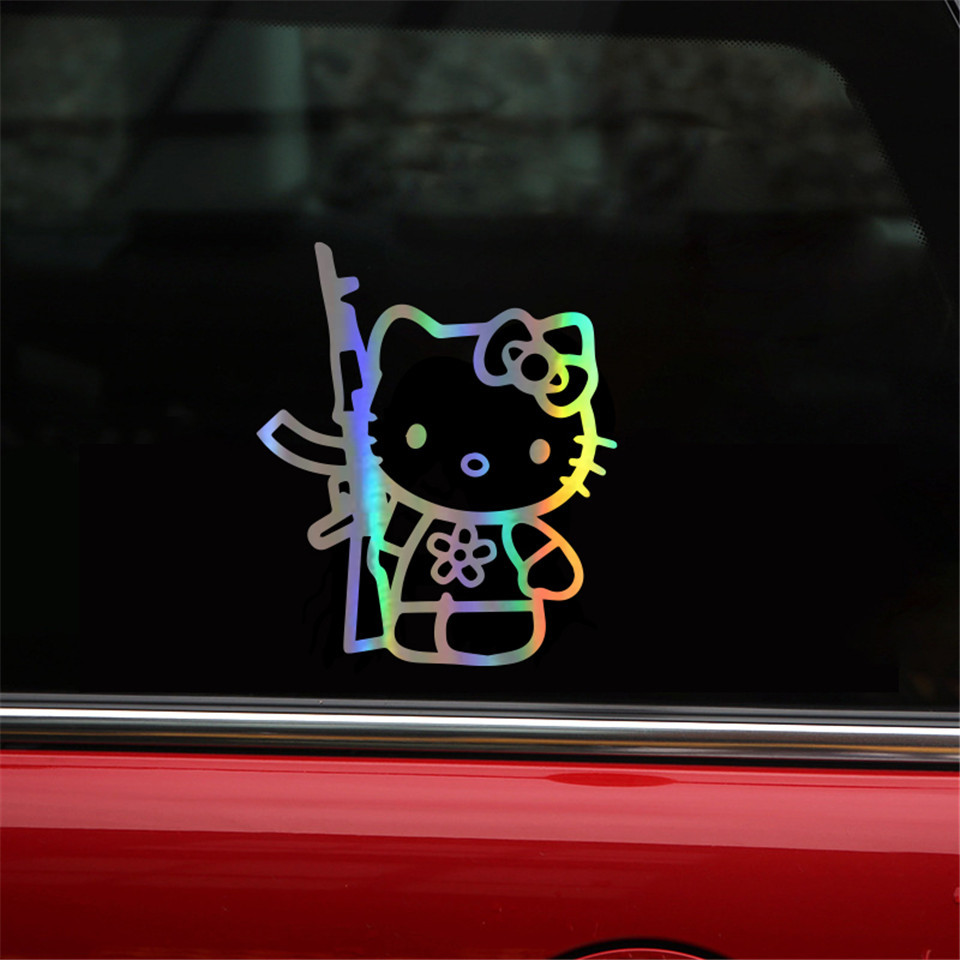 Cunymagos Funny Hello Kitty Rifle Vinyl Sticker Decal Personality Funny Car Styling Fashion Accessories Wall Decorative Stickers 13 (8)