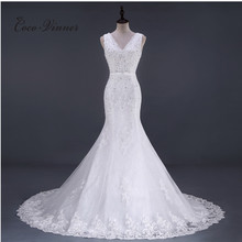 C.V 2017 New V Neck Sleeveless Appliques Beading Mermaid Wedding Gown Fish Chapel Tail  Plus Size Lace Mermaid Wedding Dress