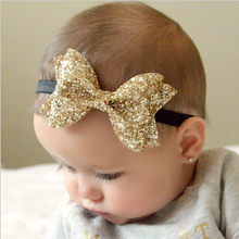 Kids Girls Shiny Bow Knot Headband Kids Bow Elasticity Hair Band Kid Headwear Cool Hair Accessories EASOV W213(China)