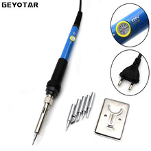 220v 60w Eu Plug Electrical Soldering Iron Hand Welding Rework Repair Tool Adjustable Temperature Gun 5pcs Solder Tip 2017 Real(China)